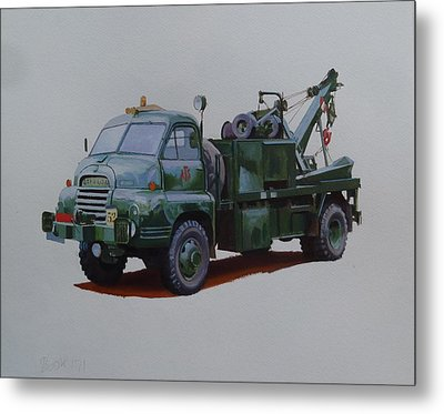 Metal Print featuring the painting Bedford Wrecker Afs by Mike Jeffries