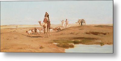 Bedouin In The Desert Metal Print by Frederick Goodall