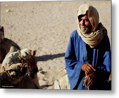 Bedouin Man In Blue Metal Print by Chaza Abou El Khair