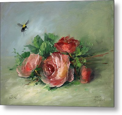 Bee And Roses On A Table Metal Print by David Jansen