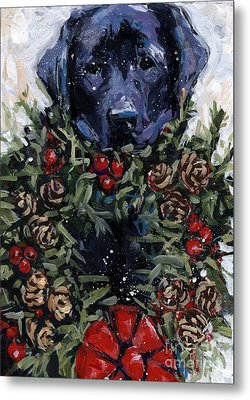 Metal Print featuring the painting Bee Bows by Molly Poole