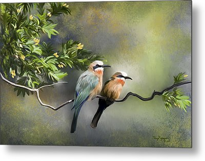 Metal Print featuring the digital art Bee-eater Birds by Thanh Thuy Nguyen