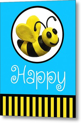 Bee Happy Metal Print by Amy Vangsgard