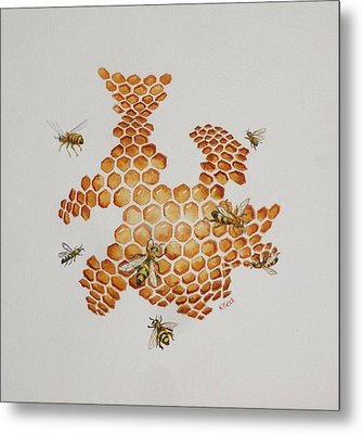 Metal Print featuring the painting Bee Hive # 1 by Katherine Young-Beck