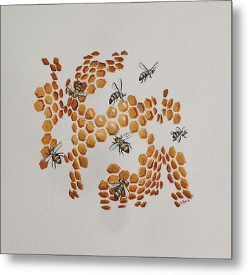 Metal Print featuring the painting Bee Hive # 2 by Katherine Young-Beck