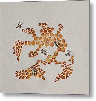 Metal Print featuring the painting Bee Hive # 4 by Katherine Young-Beck
