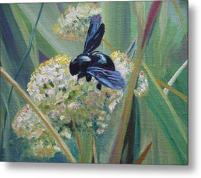 Bee In Provence Metal Print