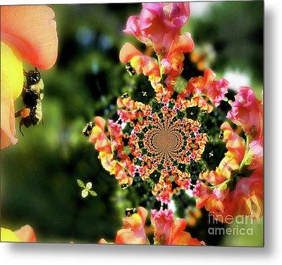 Bee On Snapdragon Flower Abstract Metal Print by Smilin Eyes  Treasures