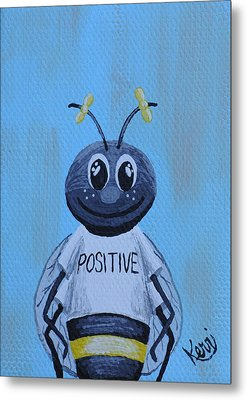 Bee Positive School Picture Metal Print