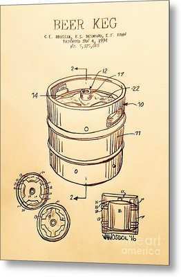 Beer Keg 1994 Patent - Vintage Metal Print