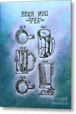 Beer Mug 1951 Patent - Blue Abstract Metal Print