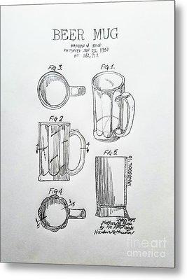 Beer Mug 1951 Patent - Original  Metal Print