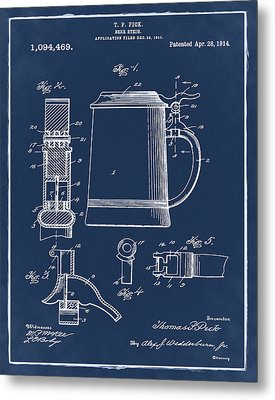 Beer Stein Patent 1914 In Blue Metal Print