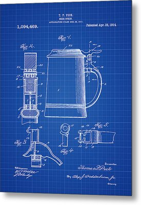 Beer Stein Patent 1914 In Blue Print Metal Print