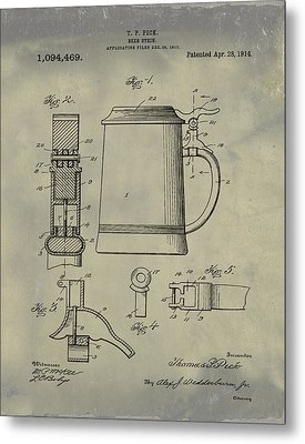 Beer Stein Patent 1914 In Weathered Metal Print