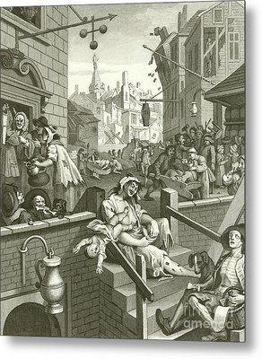 Beer Street And Gin Lane  Metal Print by William Hogarth
