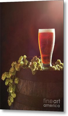 Beer With Hops Metal Print