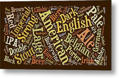 Beer Word Cloud Metal Print by Edward Fielding