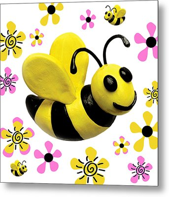 Bees And Flowers Square Metal Print by Amy Vangsgard