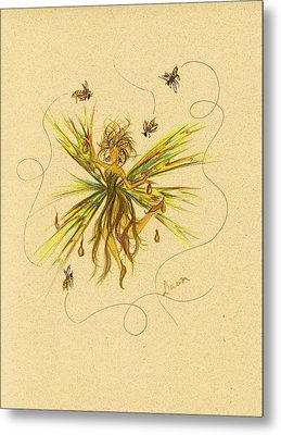 Metal Print featuring the drawing Bees To Honey by Dawn Fairies