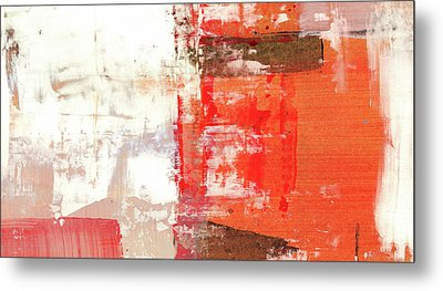 Behind The Corner - Warm Linear Abstract Painting Metal Print by Modern Art Prints