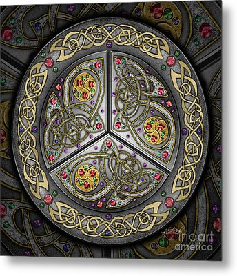 Metal Print featuring the mixed media Bejeweled Celtic Shield by Kristen Fox