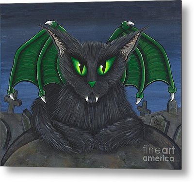 Metal Print featuring the painting Bela Vampire Cat by Carrie Hawks