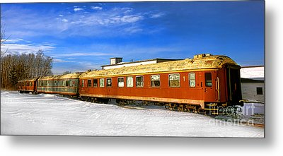 Metal Print featuring the photograph Belfast And Moosehead Railroad Cars In Winter by Olivier Le Queinec