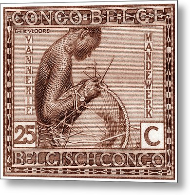 Metal Print featuring the painting Belgian Congo Woman Weaving Basket by Historic Image