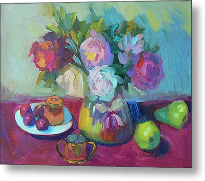 Metal Print featuring the painting Belgian Creamer And Sugar by Diane McClary