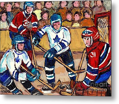 Bell Center Hockey Art Goalie Carey Price Makes A Save Original 6 Teams Habs Vs Leafs Carole Spandau Metal Print by Carole Spandau