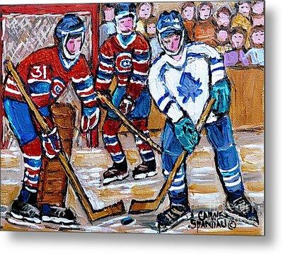 Bell Center Hockey Painting Carey Price Goalie Original 6  Habs Vs Leafs Hockey Art Carole Spandau Metal Print by Carole Spandau