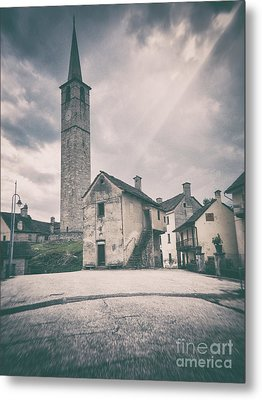Metal Print featuring the photograph Bell Tower In Italian Village by Silvia Ganora