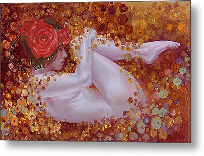 Metal Print featuring the painting Bella Rose by Ragen Mendenhall