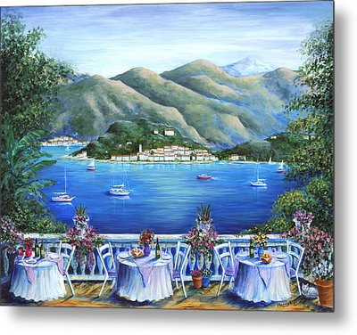 Bellagio From The Cafe Metal Print by Marilyn Dunlap
