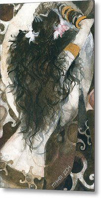 Metal Print featuring the painting Belly Dancer And The Mirror by Maya Manolova