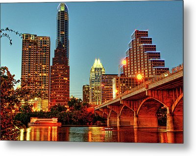 Below Congress Avenue Bridge Metal Print by David Hensley
