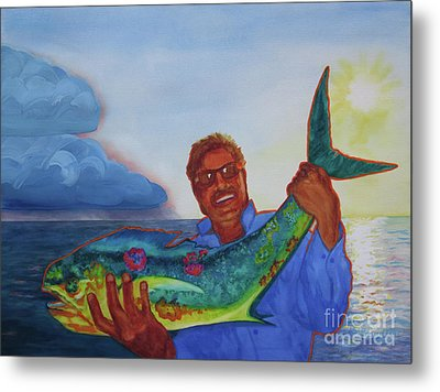 Ben And The Dolphin Fish Metal Print by Kathy Braud