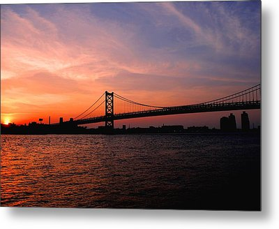 Ben Franklin Bridge Sunset Metal Print