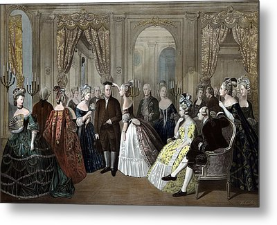 Ben Franklin's Reception At The Court Of France  Metal Print