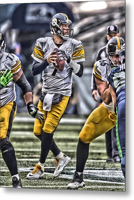 Ben Roethlisberger Pittsburgh Steelers Art Metal Print by Joe Hamilton
