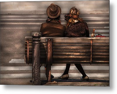 Bench - A Couple Out Of Time Metal Print by Mike Savad