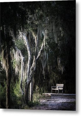 Bench At Sunset Metal Print by Chrystal Mimbs
