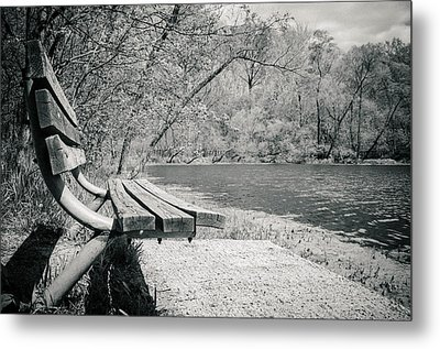 Bench By The Water Metal Print