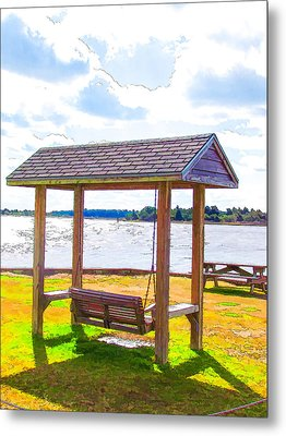 Bench In Nature By The Sea 1 Metal Print by Lanjee Chee