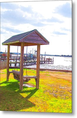 Bench In Nature By The Sea 2 Metal Print by Lanjee Chee