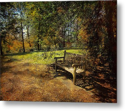 Metal Print featuring the photograph Bench by John Rivera
