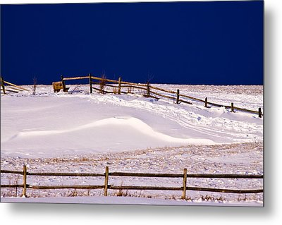 Metal Print featuring the photograph Bench On A Winter Hill by Don Nieman
