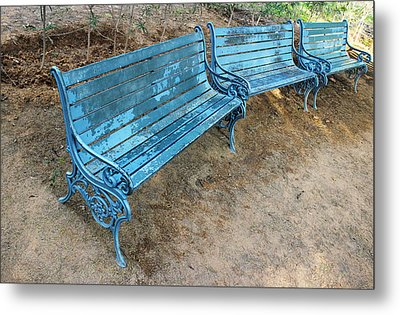 Metal Print featuring the photograph Benches And Blues by Prakash Ghai