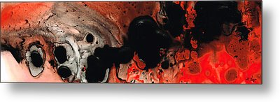 Beneath The Fire - Red And Black Painting Art Metal Print by Sharon Cummings